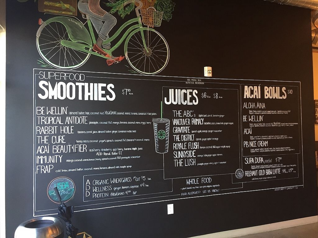 """Photo of Be Well Juice Bar  by <a href=""""/members/profile/notameat"""">notameat</a> <br/>Menu <br/> July 7, 2017  - <a href='/contact/abuse/image/95420/277340'>Report</a>"""