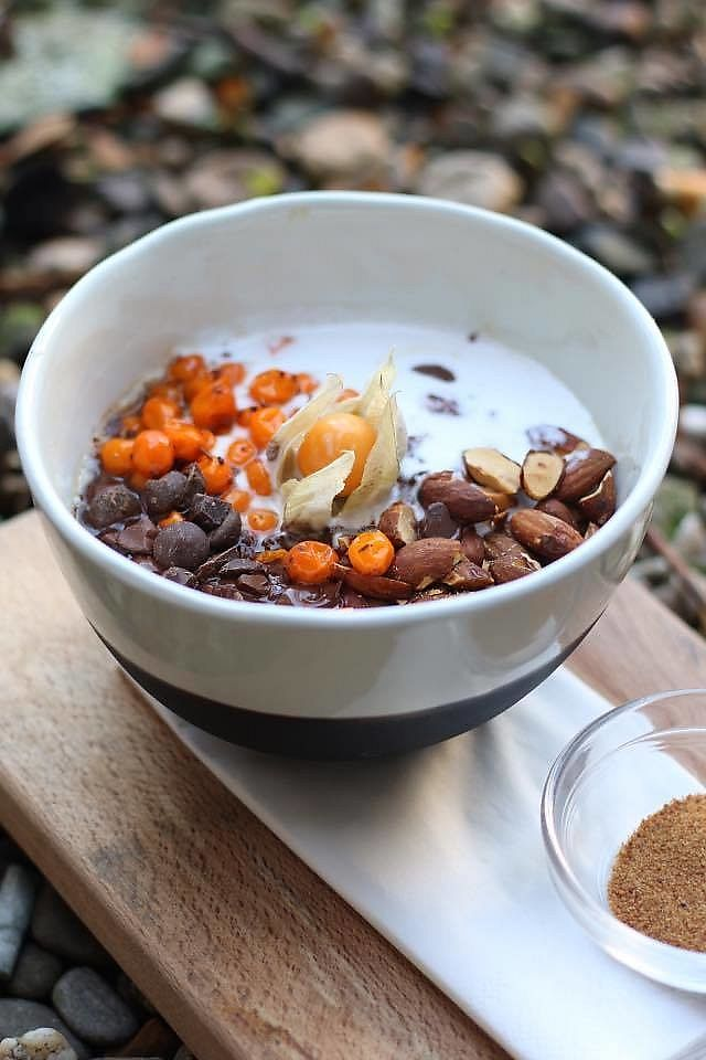 """Photo of Dignita - Vondelpark  by <a href=""""/members/profile/community5"""">community5</a> <br/>'Wild Romance' - porridge of red quinoa and wholegrain buckwheat topped with macerated wild sea buckthorn berries, homemade coconut yoghurt, crushed pure chocolate and toasted almonds <br/> July 10, 2017  - <a href='/contact/abuse/image/95439/278625'>Report</a>"""
