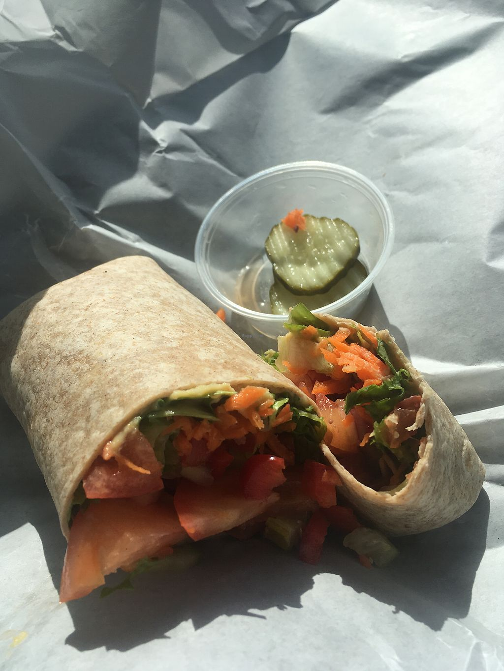 """Photo of Good Karma Cafe & Health Foods  by <a href=""""/members/profile/LukeHayward"""">LukeHayward</a> <br/>Hummus and Veggie Wrap <br/> April 2, 2018  - <a href='/contact/abuse/image/95457/379922'>Report</a>"""