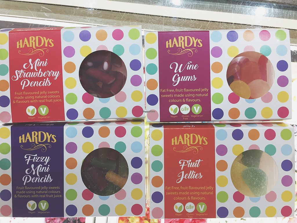 "Photo of Hardy's Original Sweet Shop  by <a href=""/members/profile/HannahHinton"">HannahHinton</a> <br/>Hardys vegan range - wine gums, fruit jellies, mini strawberry pencils, mini fizzy pencils  <br/> October 2, 2017  - <a href='/contact/abuse/image/95512/311022'>Report</a>"