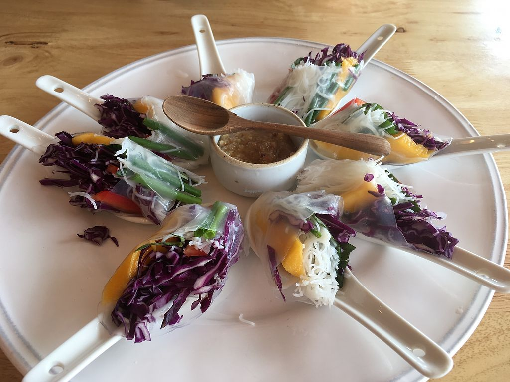 "Photo of Hua Hin Vegan Cafe and Wine  by <a href=""/members/profile/Charliemcleanash"">Charliemcleanash</a> <br/>Spring rolls (actually summer rolls) <br/> July 15, 2017  - <a href='/contact/abuse/image/95513/280475'>Report</a>"