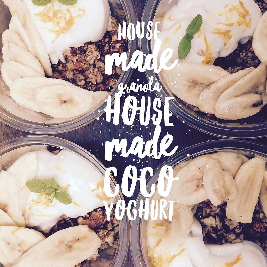 """Photo of Herbivore Kind Kitchen  by <a href=""""/members/profile/IsharaAhimsaLove"""">IsharaAhimsaLove</a> <br/>Organic House Made Granola and Yoghurt <br/> July 8, 2017  - <a href='/contact/abuse/image/95523/277715'>Report</a>"""