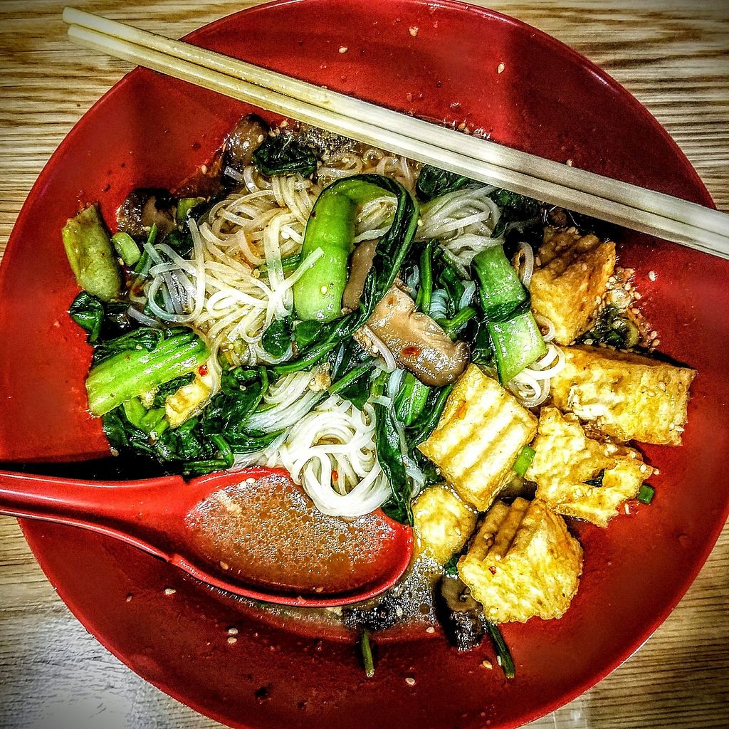 """Photo of Kao Ramen  by <a href=""""/members/profile/TimEagle"""">TimEagle</a> <br/>Vegan, Gluten-Free, Rice Noodles and Fried Tofu <br/> July 8, 2017  - <a href='/contact/abuse/image/95540/277773'>Report</a>"""