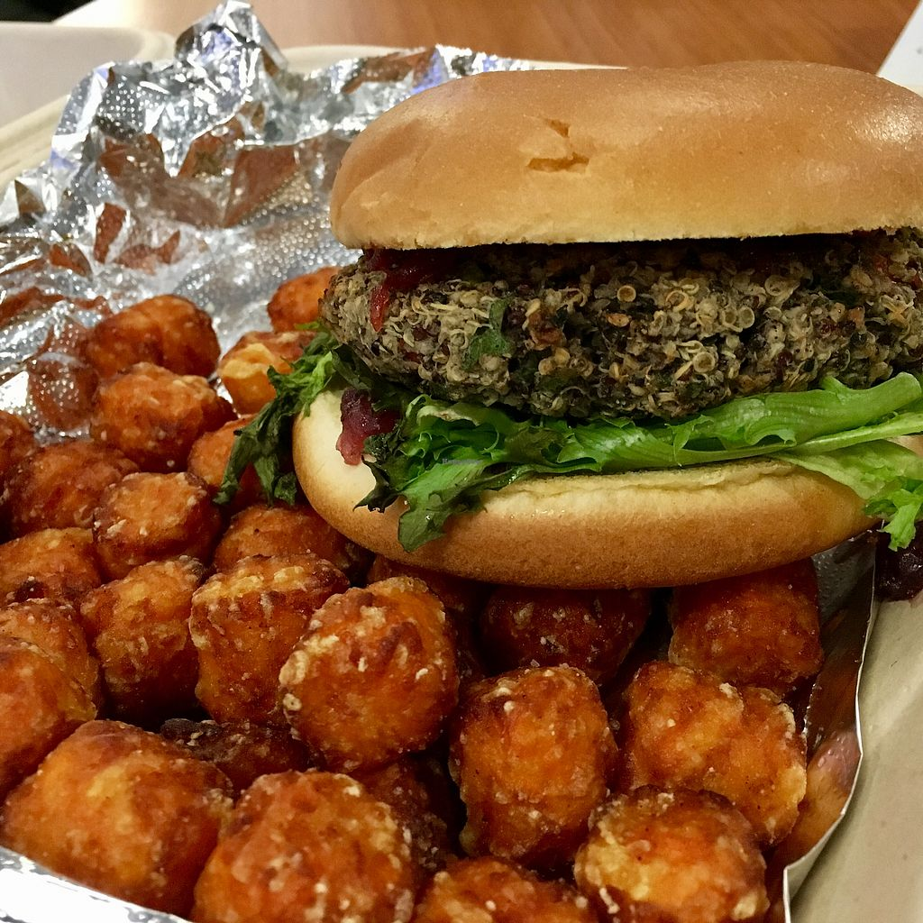 "Photo of Pit Stop Taproom & Pub  by <a href=""/members/profile/DanielaHansen"">DanielaHansen</a> <br/>Quinoa burger with cranberry relish and sweet potato tots <br/> September 5, 2017  - <a href='/contact/abuse/image/95559/301021'>Report</a>"