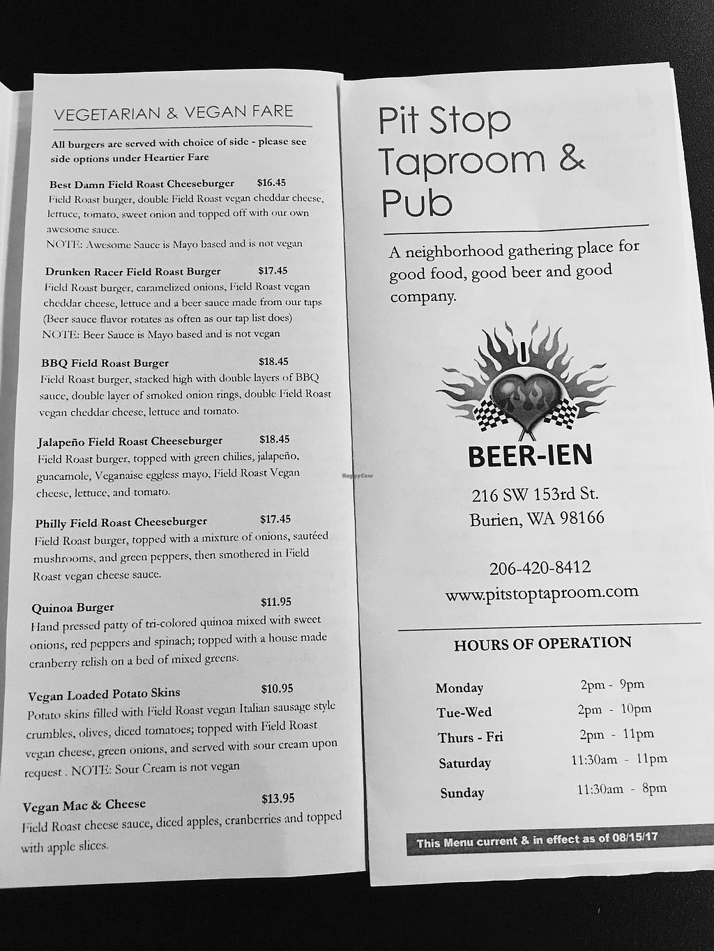 "Photo of Pit Stop Taproom & Pub  by <a href=""/members/profile/DanielaHansen"">DanielaHansen</a> <br/>Menu. In addition they have vegan loaded nachos and quesadillas and and ice cream sundae! <br/> September 5, 2017  - <a href='/contact/abuse/image/95559/301023'>Report</a>"