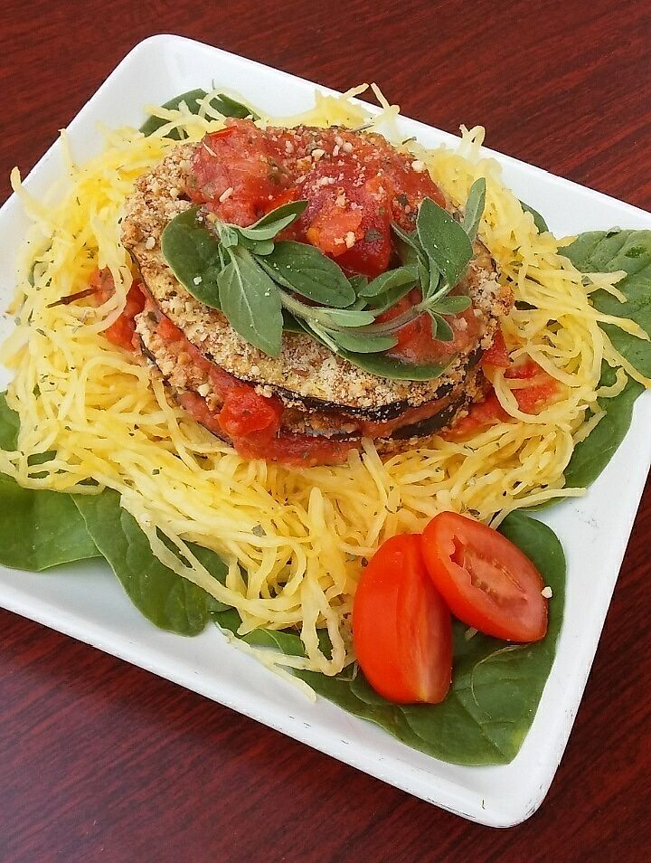 """Photo of Wicked Fitness Healthy Kitchen  by <a href=""""/members/profile/ChristyBarnesSeagle"""">ChristyBarnesSeagle</a> <br/>Eggplant Parm w/ spaghetti squash <br/> July 16, 2017  - <a href='/contact/abuse/image/95561/280984'>Report</a>"""