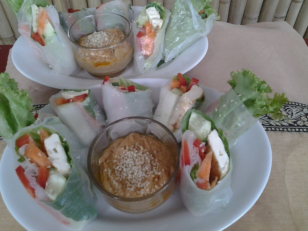 """Photo of Rawkin Cafe  by <a href=""""/members/profile/getjuicedforlife"""">getjuicedforlife</a> <br/>Veggie Rice Wraps: Greens, cucumber, carrot, bell pepper, sesame seeds (with or w/o tofu). Thai Peanut dipping sauce <br/> September 30, 2017  - <a href='/contact/abuse/image/95624/309993'>Report</a>"""