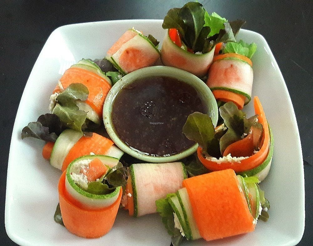 """Photo of Rawkin Cafe  by <a href=""""/members/profile/NikkiHammett"""">NikkiHammett</a> <br/>Cucumber Wraps with cashew nut butter and soy/wasabi dipping sauce <br/> December 2, 2017  - <a href='/contact/abuse/image/95624/331401'>Report</a>"""