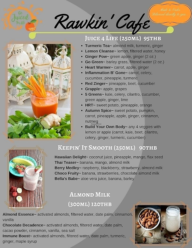 """Photo of Rawkin Cafe  by <a href=""""/members/profile/getjuicedforlife"""">getjuicedforlife</a> <br/>Rawkin' Menu (Page 2) <br/> April 6, 2018  - <a href='/contact/abuse/image/95624/381401'>Report</a>"""