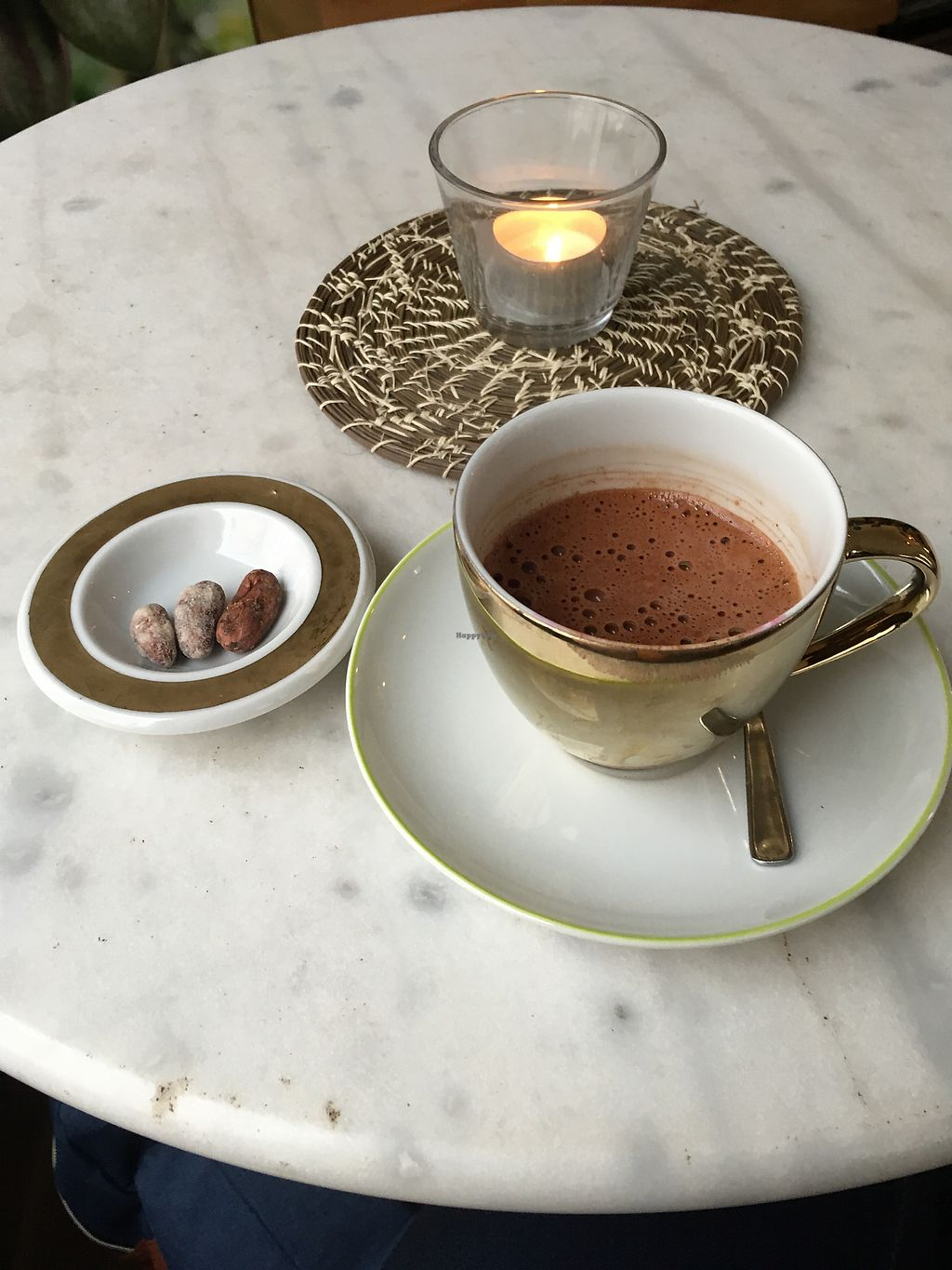 """Photo of Belyzium Artisan Chocolate  by <a href=""""/members/profile/Aim%C3%A9eCarolynRoss"""">AiméeCarolynRoss</a> <br/>Vegan hot chocolate with cocoa beans <br/> January 5, 2018  - <a href='/contact/abuse/image/95748/343268'>Report</a>"""