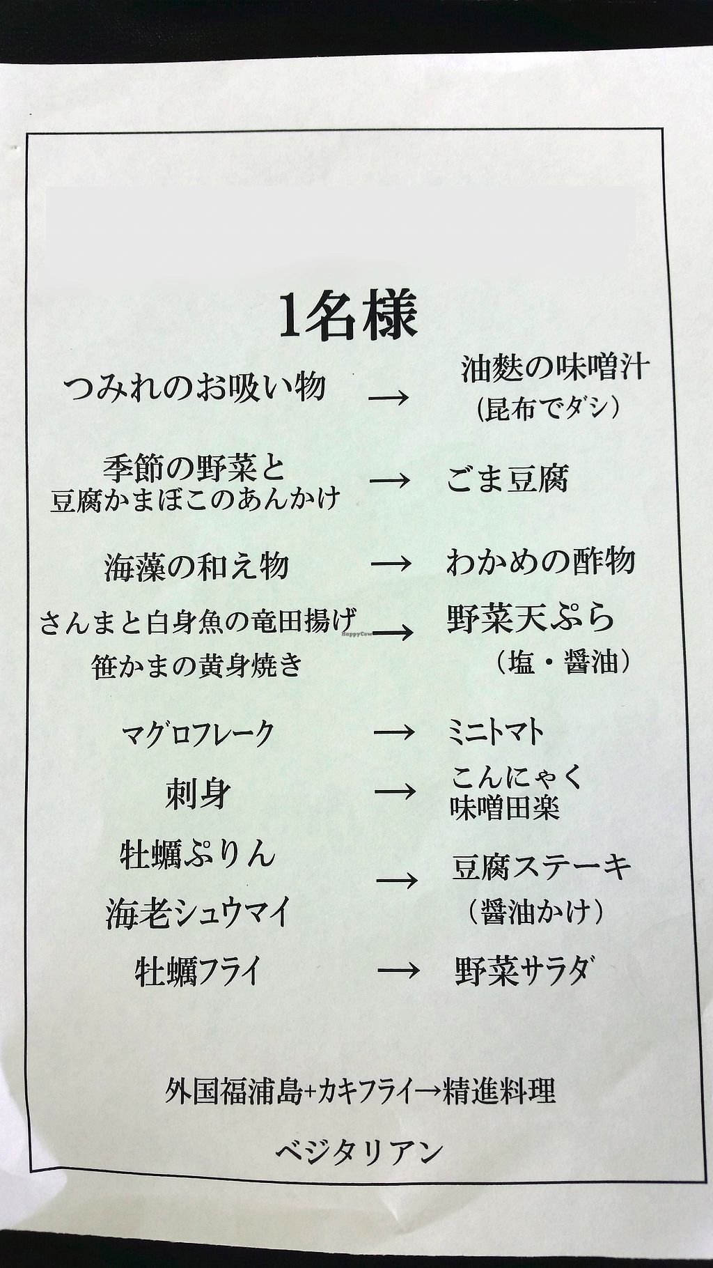 """Photo of Matsushima Kamaboko  by <a href=""""/members/profile/JVeggie"""">JVeggie</a> <br/>Menu changes they have made to accommodate vegetarians or vegans. This is the modified """"Fukuurajima"""" course (1620 yen as of 2017) <br/> July 18, 2017  - <a href='/contact/abuse/image/95833/281606'>Report</a>"""