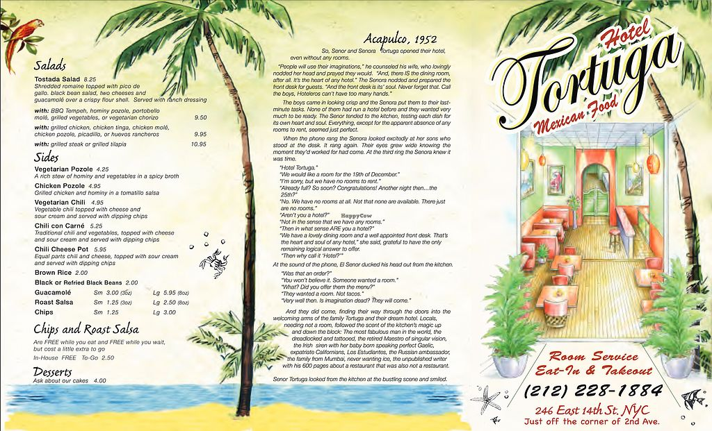 """Photo of Hotel Tortuga  by <a href=""""/members/profile/VeganDeron"""">VeganDeron</a> <br/>Menu - Page 1 <br/> July 10, 2017  - <a href='/contact/abuse/image/95878/278736'>Report</a>"""