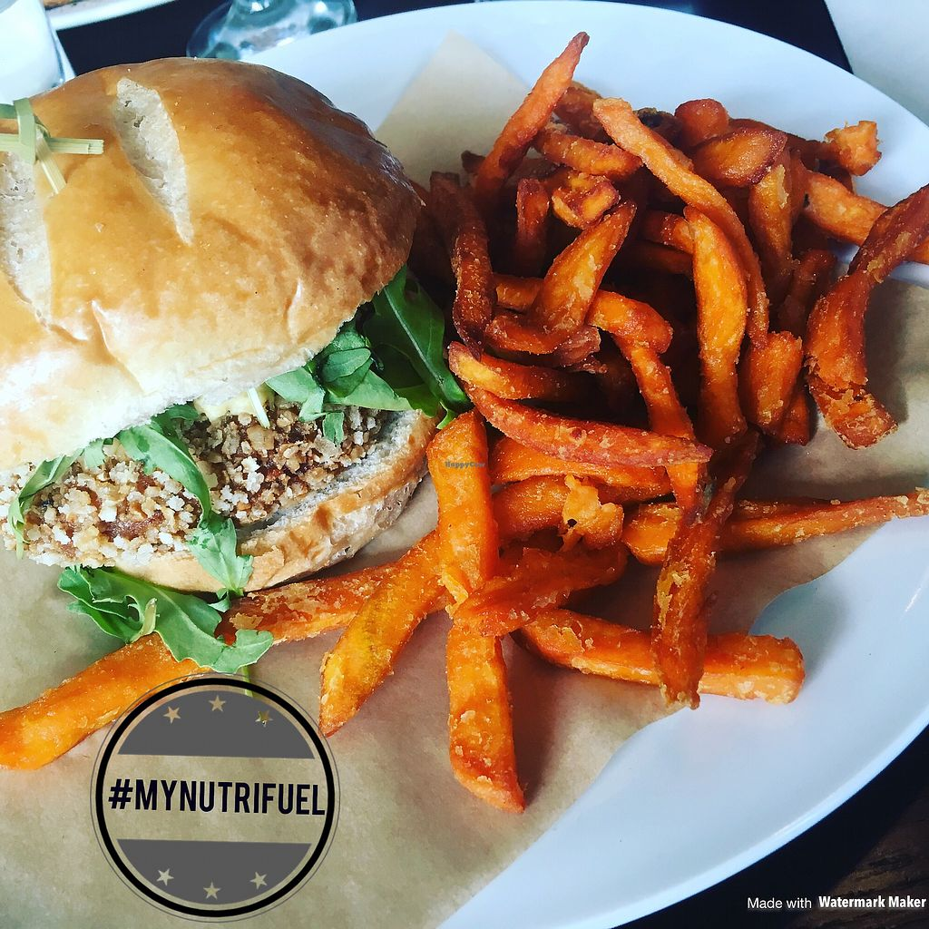 """Photo of Revolution Bar  by <a href=""""/members/profile/MyNutriFuel"""">MyNutriFuel</a> <br/>Vegan sweet potato burger <br/> July 10, 2017  - <a href='/contact/abuse/image/95905/278837'>Report</a>"""