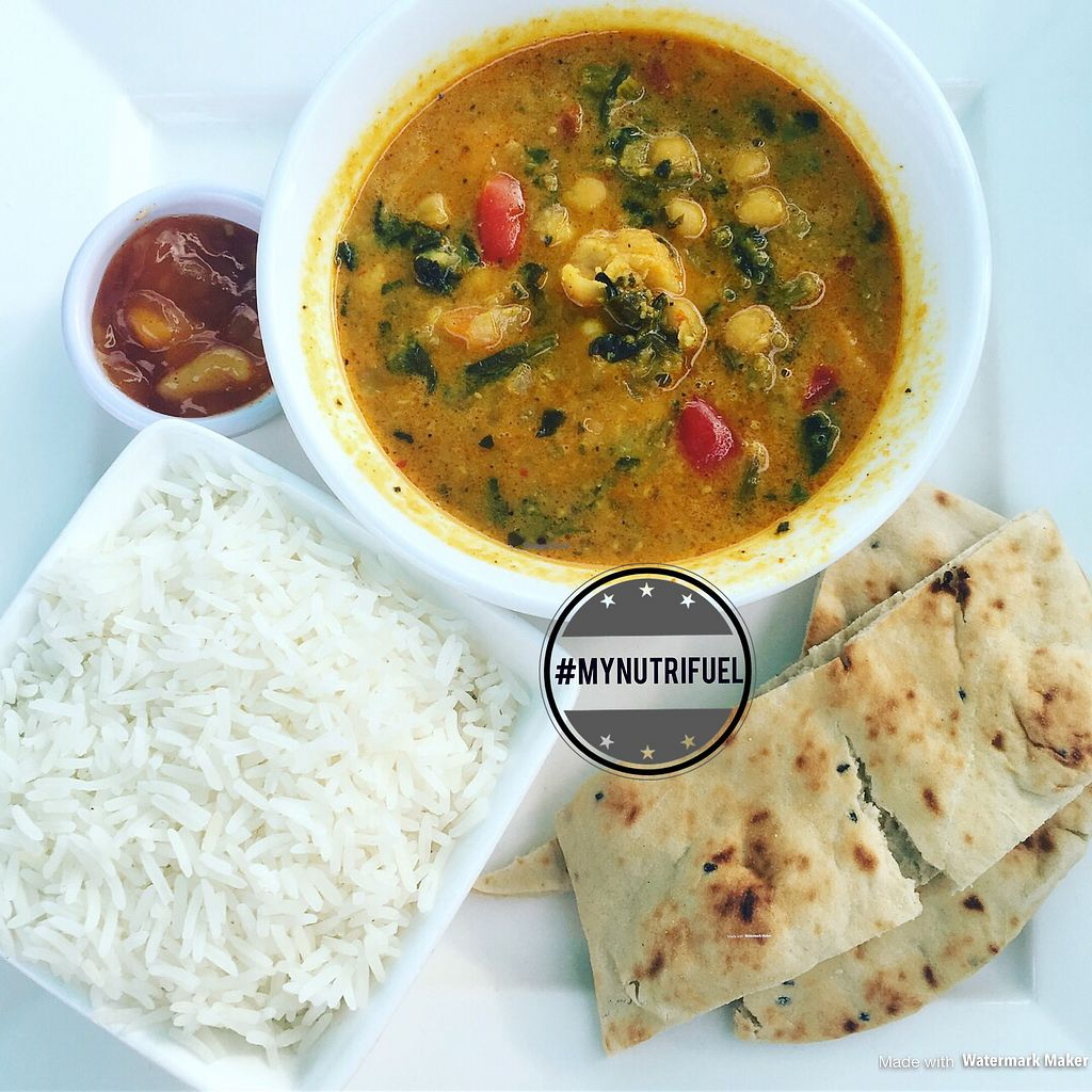 """Photo of Sands Bistro  by <a href=""""/members/profile/MyNutriFuel"""">MyNutriFuel</a> <br/>Chickpea, vegetable and spinach vegan curry with mango chutney and naan bread was to die for #mynutrifuel  <br/> July 19, 2017  - <a href='/contact/abuse/image/95915/282309'>Report</a>"""