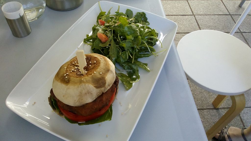 """Photo of Kardamon  by <a href=""""/members/profile/MariannaGiannakopoul"""">MariannaGiannakopoul</a> <br/>Vegetable burger with porto bello mushrooms & salad <br/> September 20, 2017  - <a href='/contact/abuse/image/95927/306355'>Report</a>"""