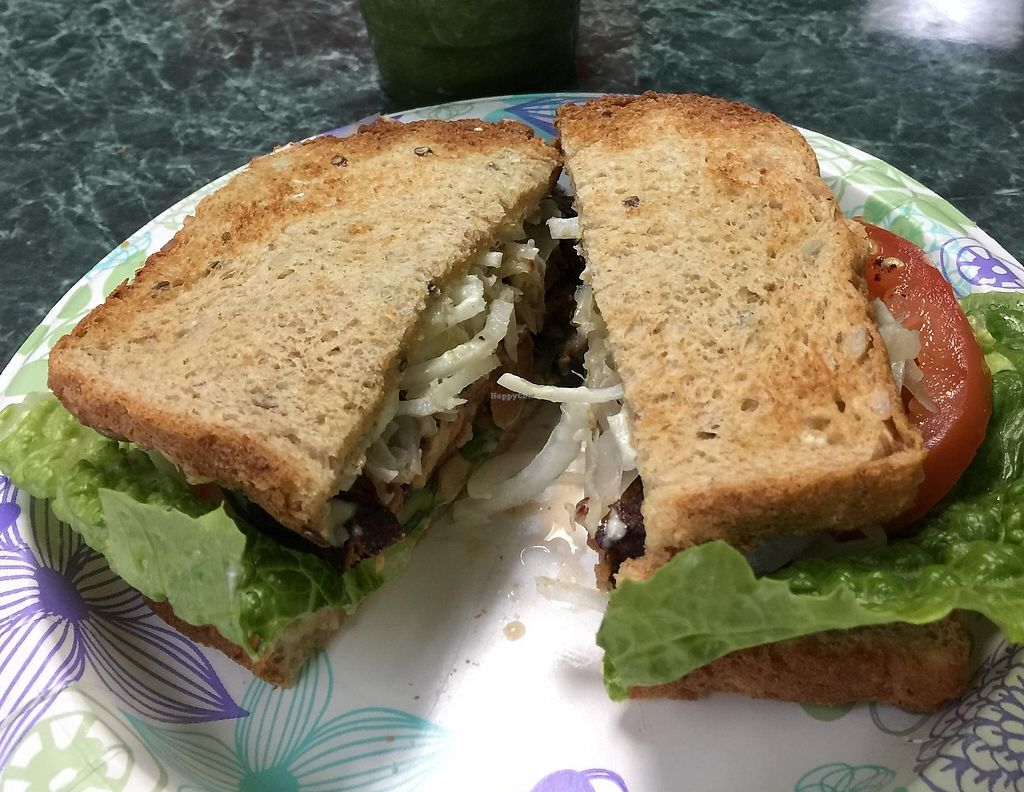 """Photo of Just Juice  by <a href=""""/members/profile/windysgarden"""">windysgarden</a> <br/>Green Drink with Black Bean Burger <br/> April 19, 2016  - <a href='/contact/abuse/image/9593/228062'>Report</a>"""