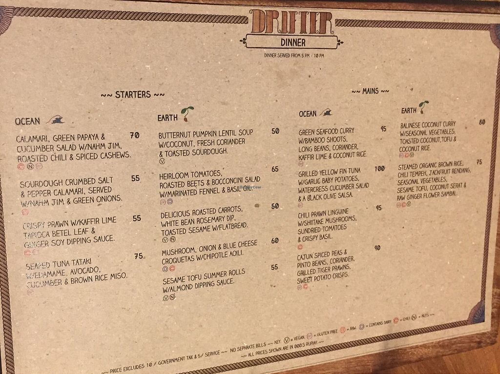 "Photo of Drifter Surf Shop & Cafe  by <a href=""/members/profile/meislnicoline"">meislnicoline</a> <br/>Dinner menu <br/> April 16, 2018  - <a href='/contact/abuse/image/95954/386724'>Report</a>"
