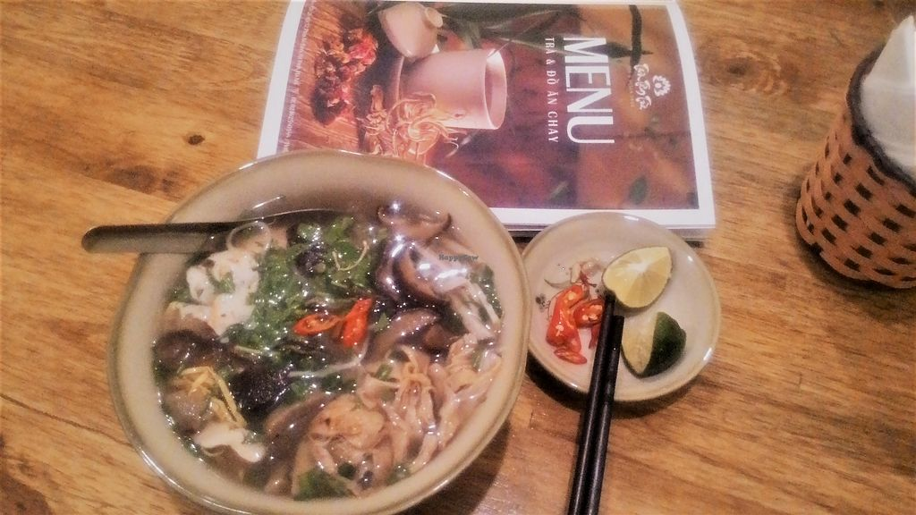 """Photo of Tinh Tam Tra  by <a href=""""/members/profile/Trambau"""">Trambau</a> <br/>Bún thang (Hanoi rice noodles in mushroom broth, with vegan ham, mushroom, vegan shredded chicken, vegan shrimp and shredded bamboo shoots <br/> April 3, 2018  - <a href='/contact/abuse/image/95959/380048'>Report</a>"""