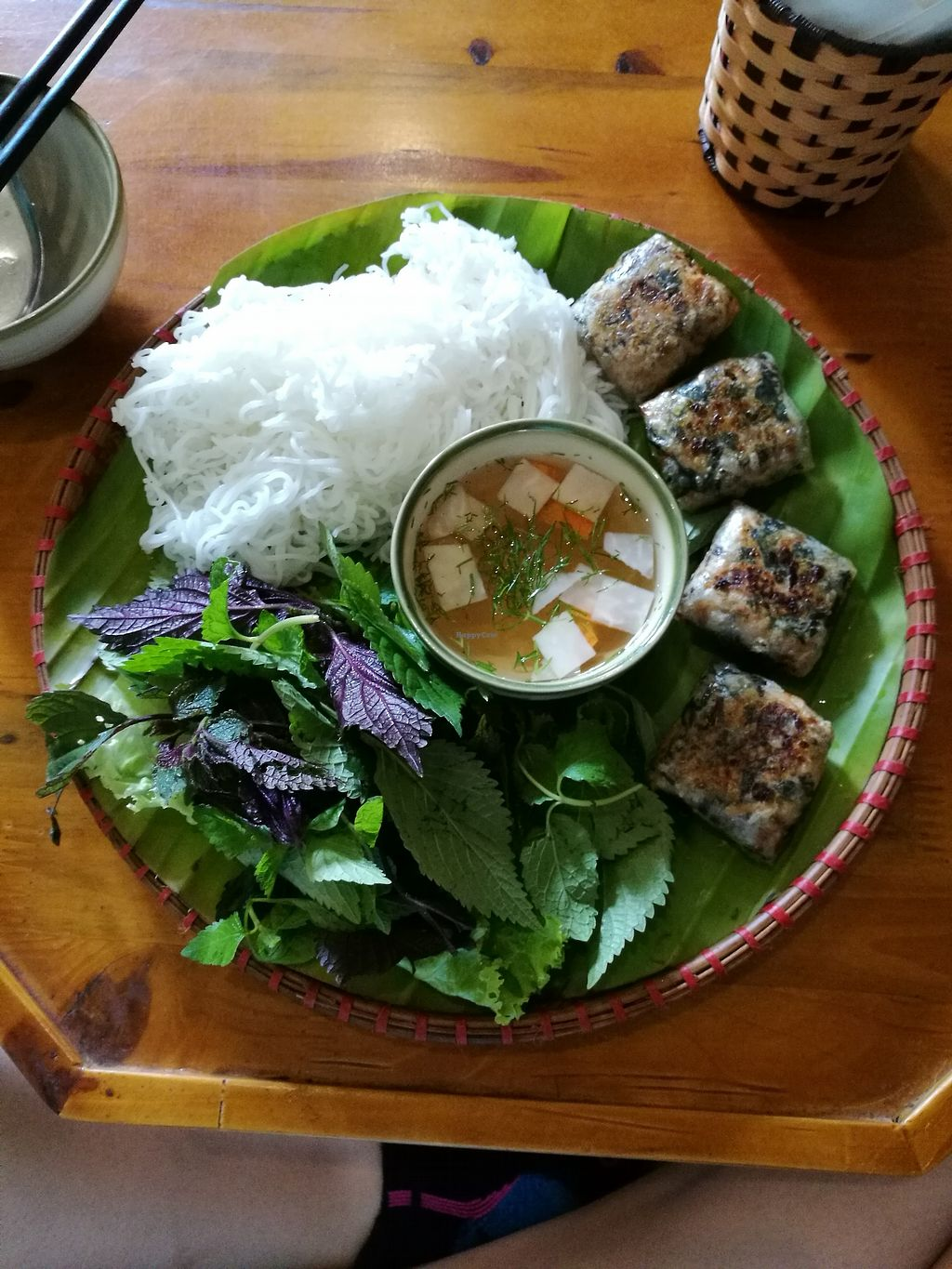 """Photo of Tinh Tam Tra  by <a href=""""/members/profile/VolleyMacaroni"""">VolleyMacaroni</a> <br/>Bun Nem with vegan fishy rolls <br/> April 5, 2018  - <a href='/contact/abuse/image/95959/380962'>Report</a>"""