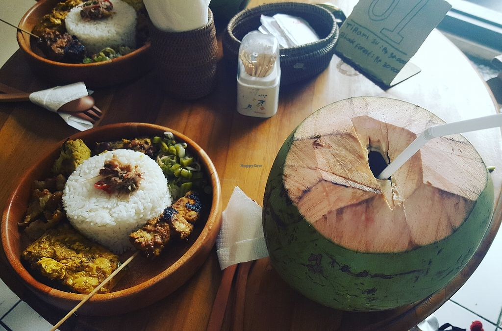"""Photo of Tulasi Vegetarian  by <a href=""""/members/profile/debramazer"""">debramazer</a> <br/>young coconut + lunch plate with all today's vegan specials! <br/> July 22, 2017  - <a href='/contact/abuse/image/95963/283133'>Report</a>"""