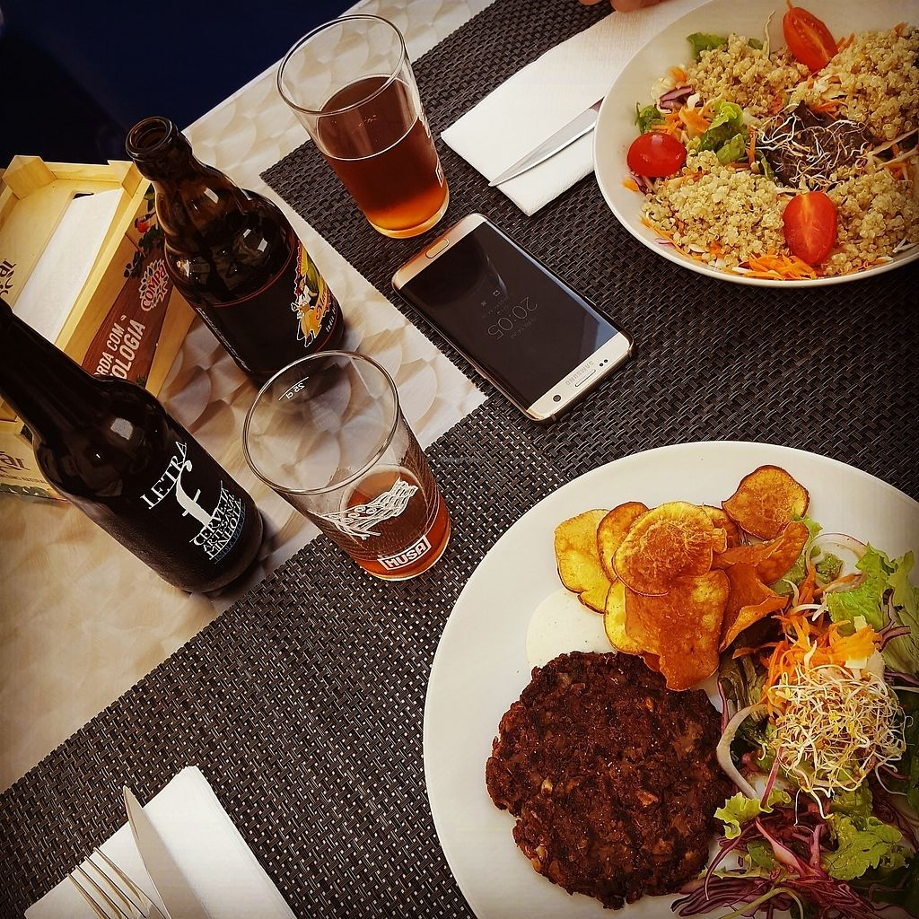 """Photo of Veggie Cafe  by <a href=""""/members/profile/SaraEllisson"""">SaraEllisson</a> <br/>Quinoa Salad and Mushroom and bean burger (without bread) <br/> July 15, 2017  - <a href='/contact/abuse/image/95965/280530'>Report</a>"""