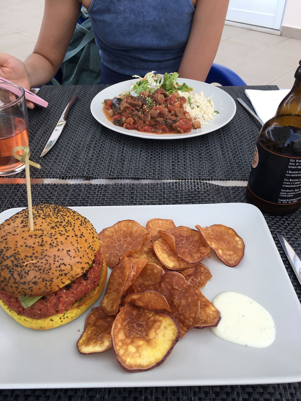 """Photo of Veggie Cafe  by <a href=""""/members/profile/AlexHume"""">AlexHume</a> <br/>My burger and girlfriend's stew :)  <br/> July 18, 2017  - <a href='/contact/abuse/image/95965/281901'>Report</a>"""
