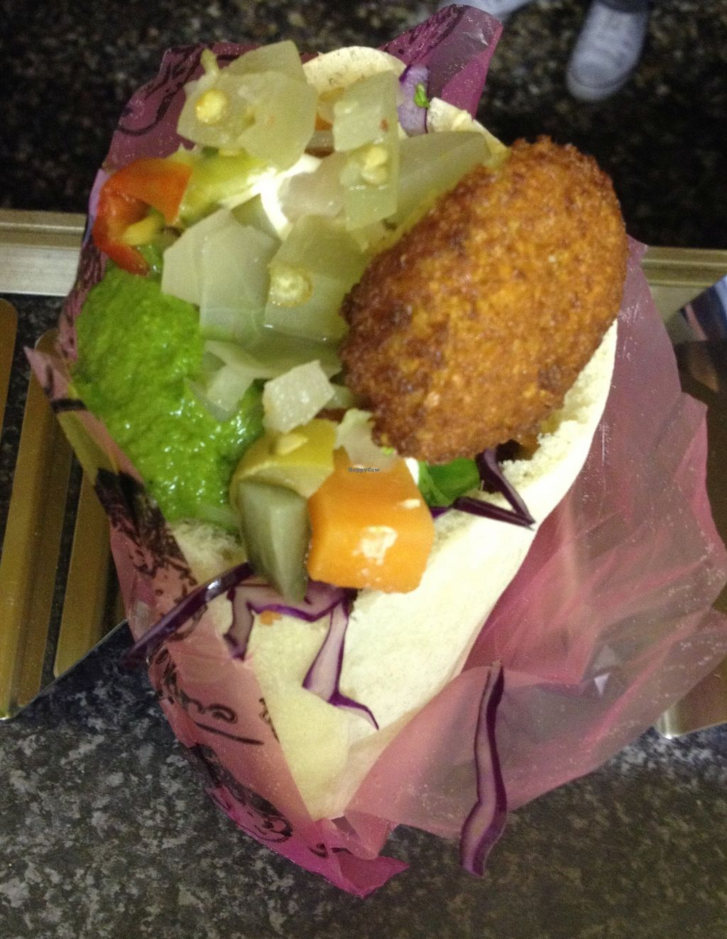 """Photo of Falafel Feast  by <a href=""""/members/profile/falafelfeast"""">falafelfeast</a> <br/>Falafel in Pita served with Houmous, Salad, Chilli, Onion with Sumak, Tehina, Sauerktraut and Pickles <br/> July 31, 2017  - <a href='/contact/abuse/image/96040/286967'>Report</a>"""