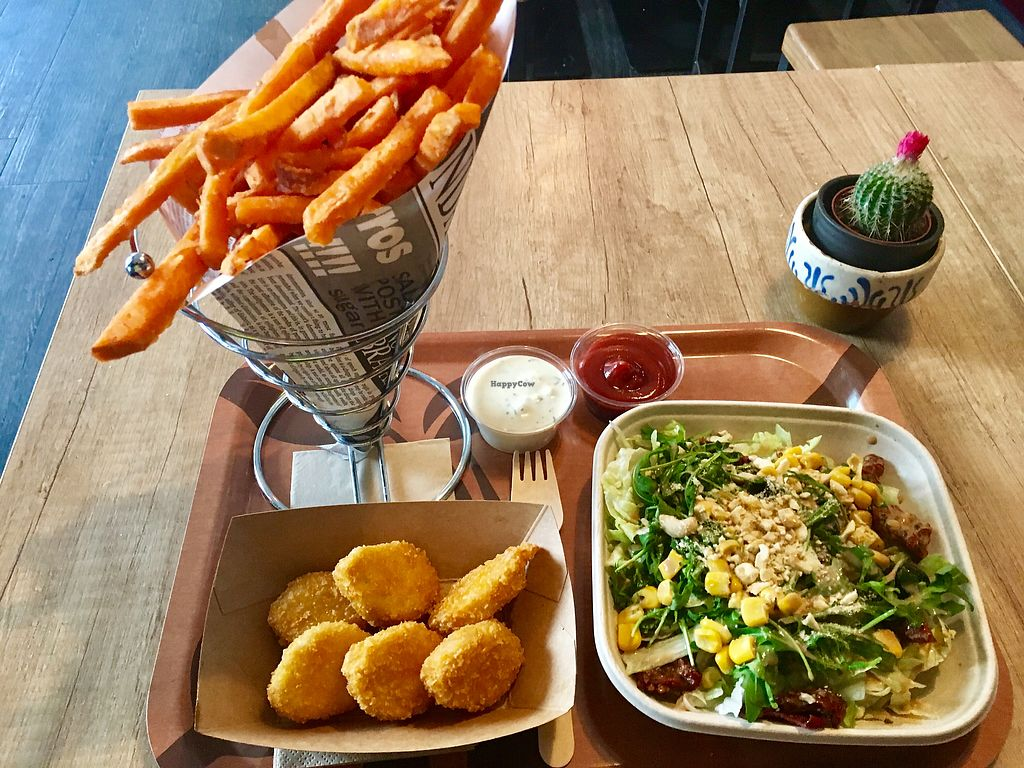 """Photo of Voodies  by <a href=""""/members/profile/CrisAlis"""">CrisAlis</a> <br/>Nuggets + Sweet Potatoes Fries + Sophia Loren Salad <br/> January 29, 2018  - <a href='/contact/abuse/image/96059/352362'>Report</a>"""