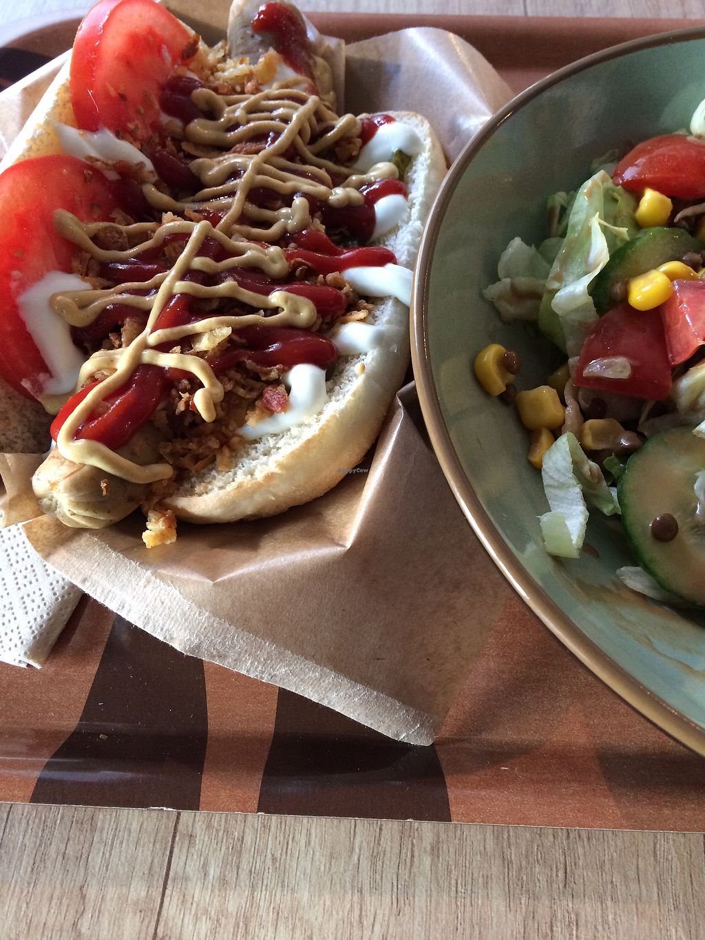 """Photo of Voodies  by <a href=""""/members/profile/siderealfire"""">siderealfire</a> <br/>Vienna not dog with side salad <br/> April 19, 2018  - <a href='/contact/abuse/image/96059/388111'>Report</a>"""
