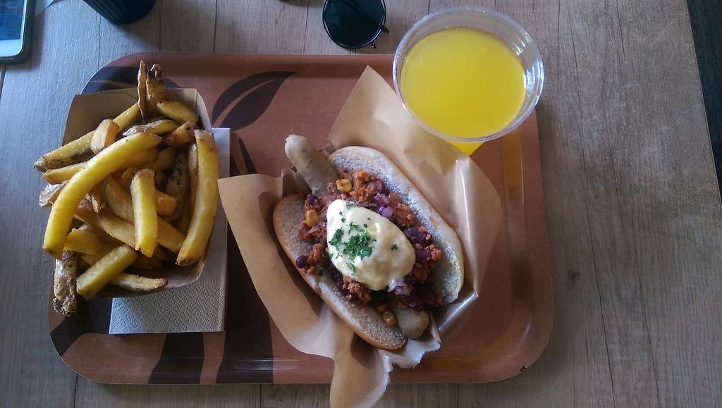 """Photo of Voodies  by <a href=""""/members/profile/siderealfire"""">siderealfire</a> <br/>Chilli not dog, fries and brain booster drink <br/> April 19, 2018  - <a href='/contact/abuse/image/96059/388112'>Report</a>"""