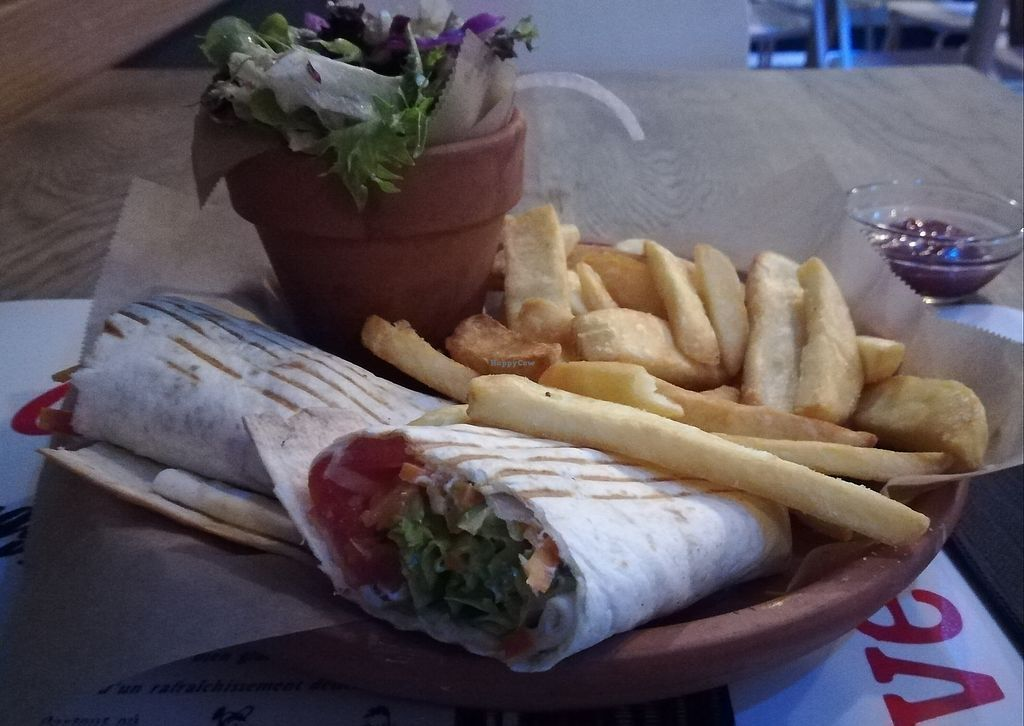 """Photo of Bahu Street Food  by <a href=""""/members/profile/Happy%20Caro"""">Happy Caro</a> <br/>vegan wraps, fries, salad <br/> July 12, 2017  - <a href='/contact/abuse/image/96061/279557'>Report</a>"""