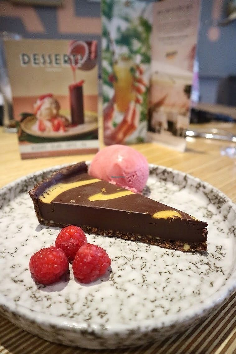 "Photo of Ask Italian  by <a href=""/members/profile/charclothier"">charclothier</a> <br/>Blood orange chocolate cheesecake with Rasberry sorbet, it was so delicious it tasted like Nuttella <br/> July 13, 2017  - <a href='/contact/abuse/image/96087/279998'>Report</a>"