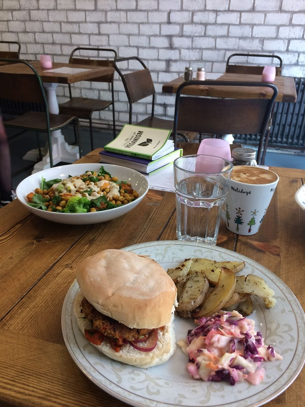 """Photo of Humblest of Pleasures  by <a href=""""/members/profile/Hoggy"""">Hoggy</a> <br/>Top dish - 'Buddha Bowl' Bottom Dish - 'Spicy Bean Burger'  Featuring soy latte, books available for browsing and glimpse of interior design <br/> July 23, 2017  - <a href='/contact/abuse/image/96089/283949'>Report</a>"""