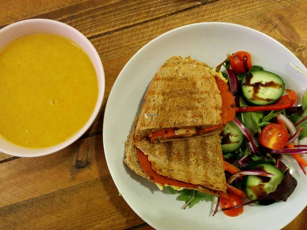 """Photo of Humblest of Pleasures  by <a href=""""/members/profile/CLRtraveller"""">CLRtraveller</a> <br/>parsnip-carrot soup and grilled pizza sandwich <br/> December 15, 2017  - <a href='/contact/abuse/image/96089/335806'>Report</a>"""