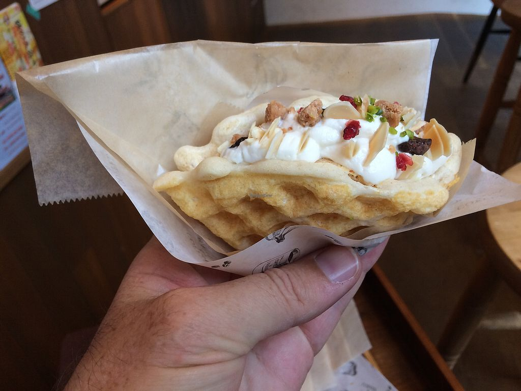 """Photo of Coffee & Banana  by <a href=""""/members/profile/AlbertHering"""">AlbertHering</a> <br/>The sweet women here made us a vegan waffle filled with soy cream and nuts and berries and it was incredible! <br/> October 21, 2017  - <a href='/contact/abuse/image/96099/317177'>Report</a>"""