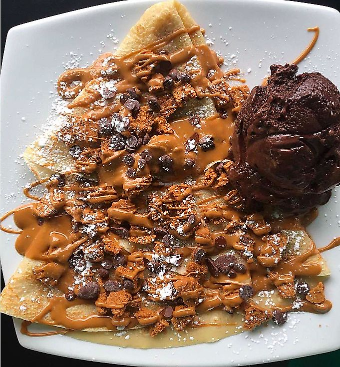 """Photo of Sweet Ice Cream Lounge  by <a href=""""/members/profile/SarahLouiseBicknell"""">SarahLouiseBicknell</a> <br/>Vegan Lotus Biscoff crepe! <br/> September 5, 2017  - <a href='/contact/abuse/image/96133/389065'>Report</a>"""