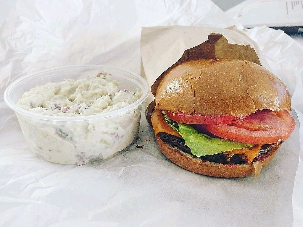 """Photo of Mendocino Farms  by <a href=""""/members/profile/KellyBone"""">KellyBone</a> <br/>Rescued  Burger and Potato Salad  <br/> November 26, 2017  - <a href='/contact/abuse/image/96186/329494'>Report</a>"""