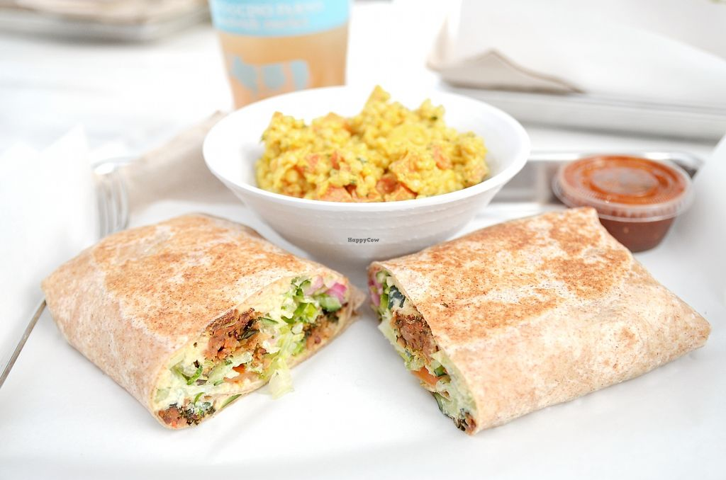 """Photo of Mendocino Farms  by <a href=""""/members/profile/KellyBone"""">KellyBone</a> <br/>Enlightened Falafel Wrap and Curried Couscous <br/> December 30, 2017  - <a href='/contact/abuse/image/96186/340683'>Report</a>"""