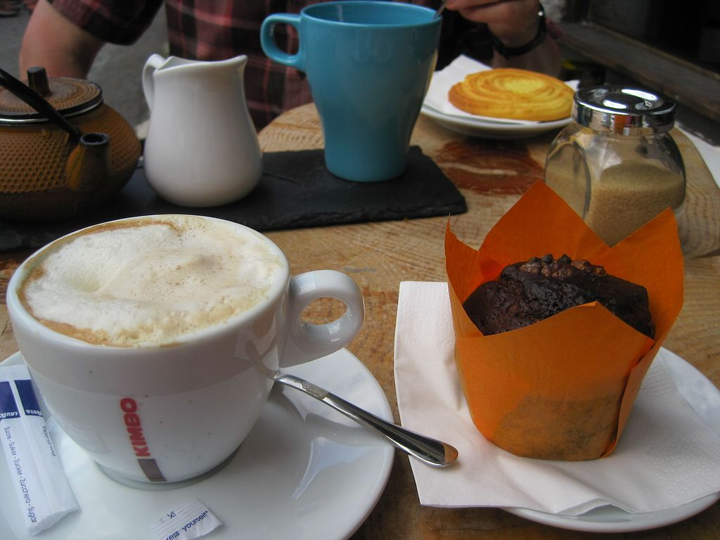 """Photo of Tete-A-The  by <a href=""""/members/profile/sweetgrass"""">sweetgrass</a> <br/>soy latte and vegan chocolate walnut muffin <br/> July 14, 2017  - <a href='/contact/abuse/image/96254/280406'>Report</a>"""