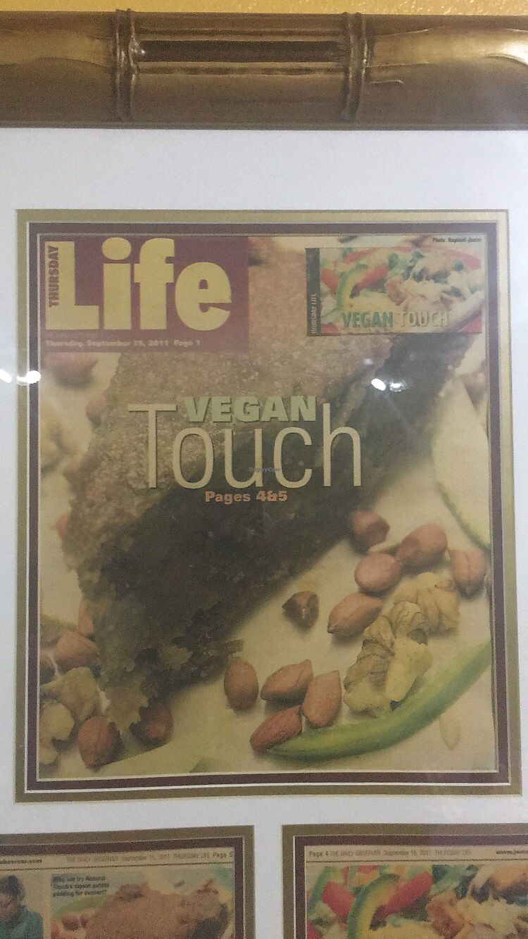"Photo of Natural Touch Vegan Cafe  by <a href=""/members/profile/ChristopherInfantry"">ChristopherInfantry</a> <br/>featured in the local paper <br/> July 15, 2017  - <a href='/contact/abuse/image/96285/280736'>Report</a>"