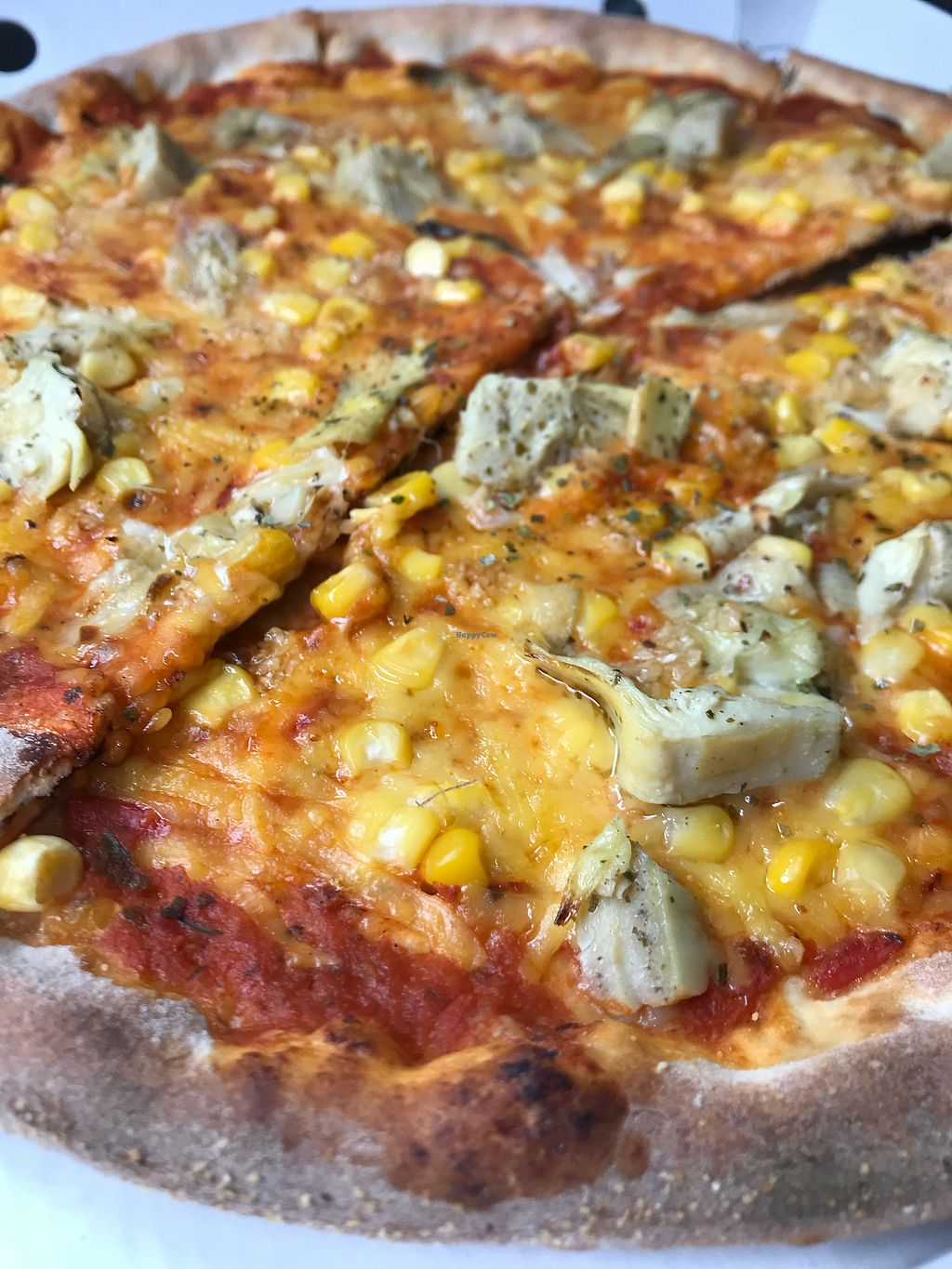 """Photo of La Pizza Buona, Pizzakurier & Takeaway  by <a href=""""/members/profile/nutri_shion"""">nutri_shion</a> <br/>Vegan pizza with wilmersburger cheese, corn and artichokes <br/> January 14, 2018  - <a href='/contact/abuse/image/96291/346462'>Report</a>"""
