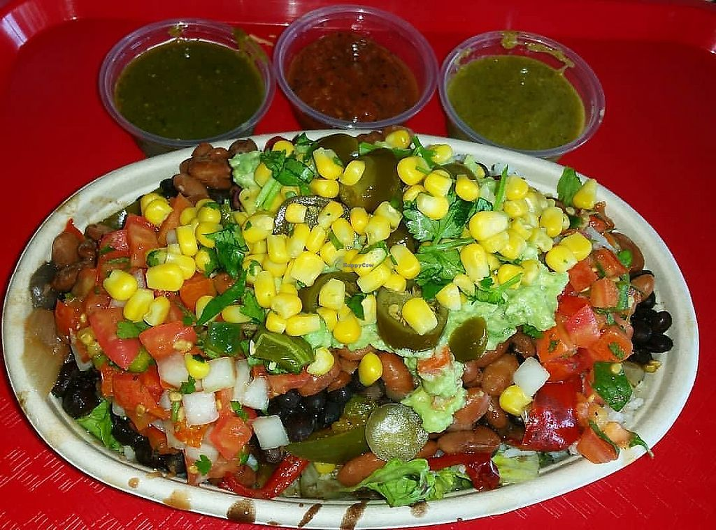 """Photo of Chilaca Mexican Grill  by <a href=""""/members/profile/wennysan"""">wennysan</a> <br/>Veggie Bowl! Romaine, brown rice, white rice, black beans, pinto beans, onions and peppers, pico, jalapenos, corn, cilantro, guacamole and all three of their salsas! Got some corn tortillas on the side to make tacos... PERFECTION! <br/> October 5, 2017  - <a href='/contact/abuse/image/96322/312111'>Report</a>"""