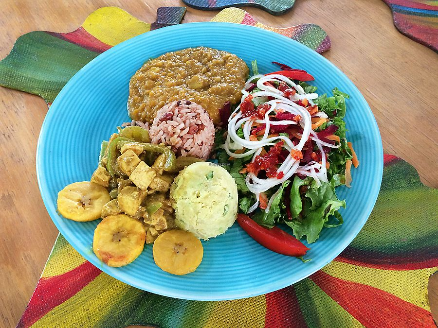 """Photo of  Soo Soom Ba Vegetarian   by <a href=""""/members/profile/Soosoomba"""">Soosoomba</a> <br/>Bean stew, rice and peas . salad, plantains <br/> July 16, 2017  - <a href='/contact/abuse/image/96343/281224'>Report</a>"""