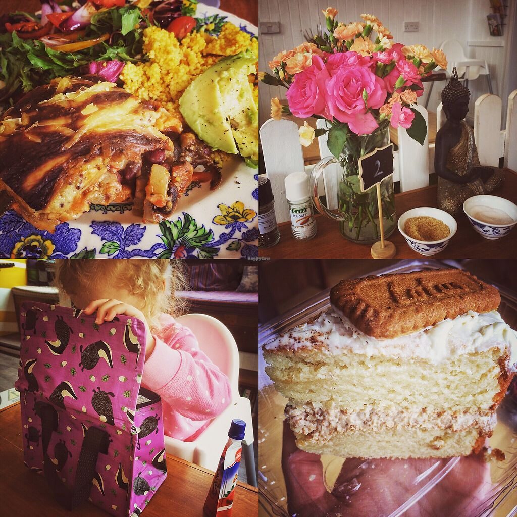 """Photo of T-Potters Cafe and Studio  by <a href=""""/members/profile/KelBram"""">KelBram</a> <br/>Vegan lasagne, kids meal picnic bag and Lotus cake <br/> September 16, 2017  - <a href='/contact/abuse/image/96378/305042'>Report</a>"""