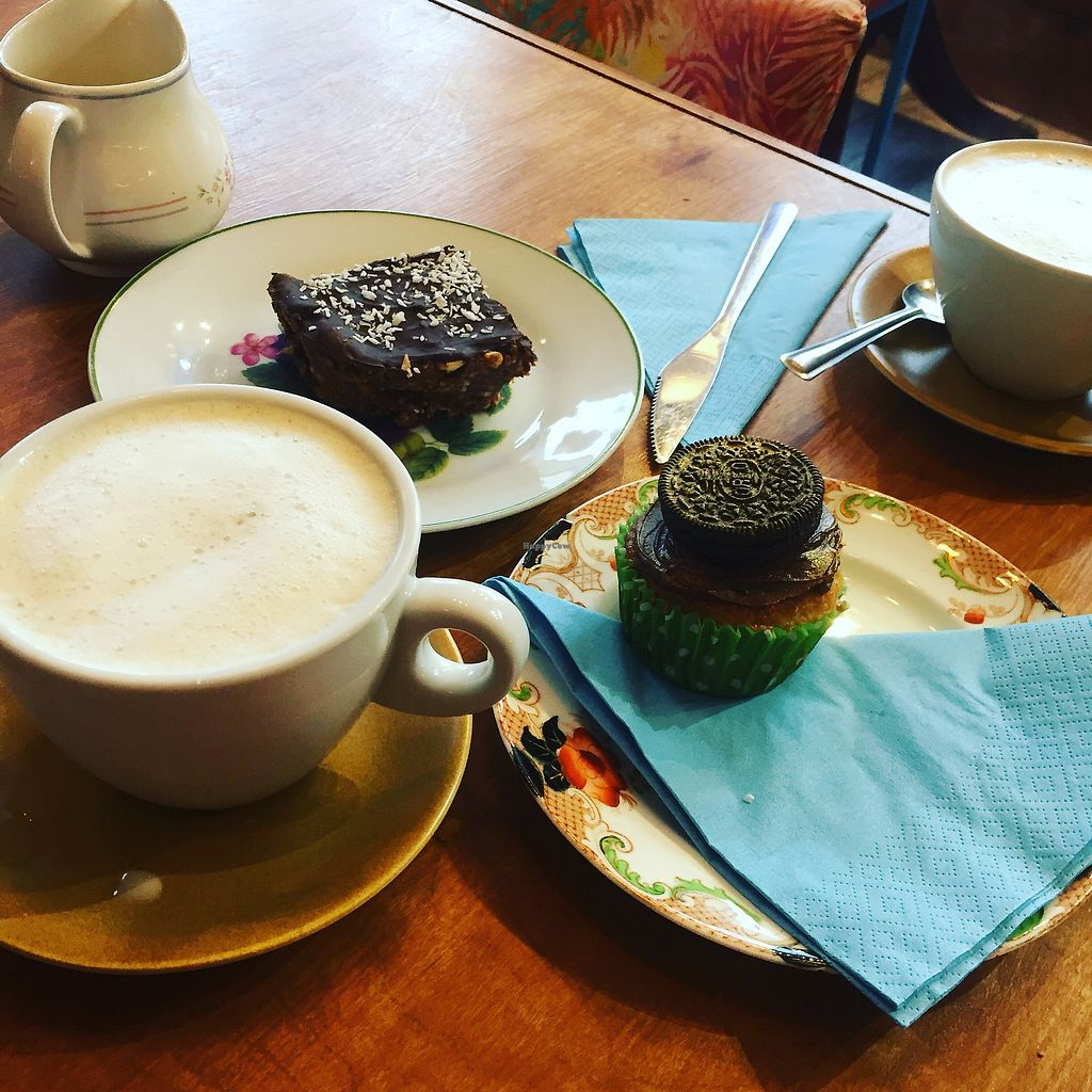"""Photo of T-Potters Cafe and Studio  by <a href=""""/members/profile/VeganSnippets"""">VeganSnippets</a> <br/>Oat milk latte and vegan cakes at T Potters cafe Arbroath  <br/> December 19, 2017  - <a href='/contact/abuse/image/96378/337274'>Report</a>"""