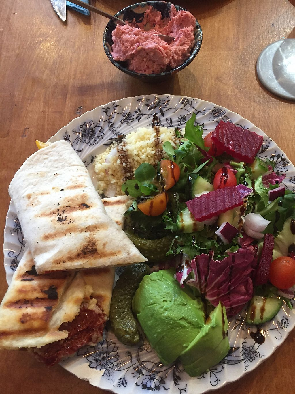 """Photo of T-Potters Cafe and Studio  by <a href=""""/members/profile/VeganSnippets"""">VeganSnippets</a> <br/>Hummous wrap at T Potters  <br/> December 19, 2017  - <a href='/contact/abuse/image/96378/337277'>Report</a>"""