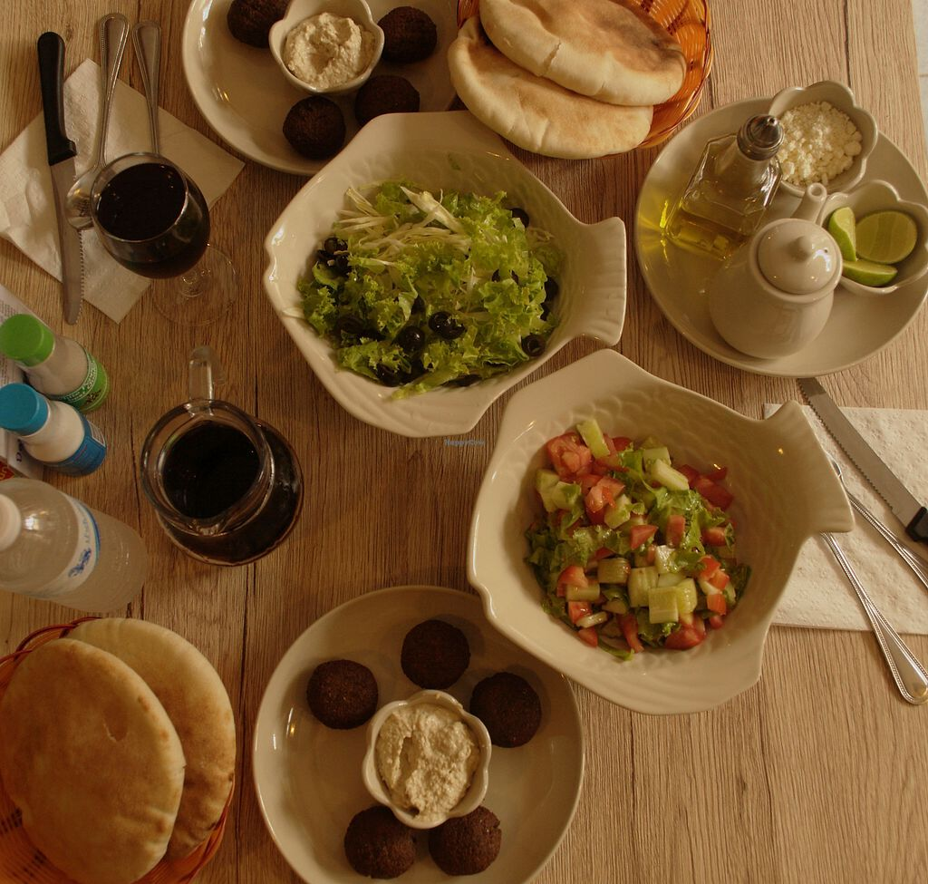 """Photo of Dow Vegetarian Restaurant  by <a href=""""/members/profile/evaPhiPhi"""">evaPhiPhi</a> <br/>Falafel with Hummus and Israeli and Greek Salad <br/> August 2, 2017  - <a href='/contact/abuse/image/96395/287889'>Report</a>"""