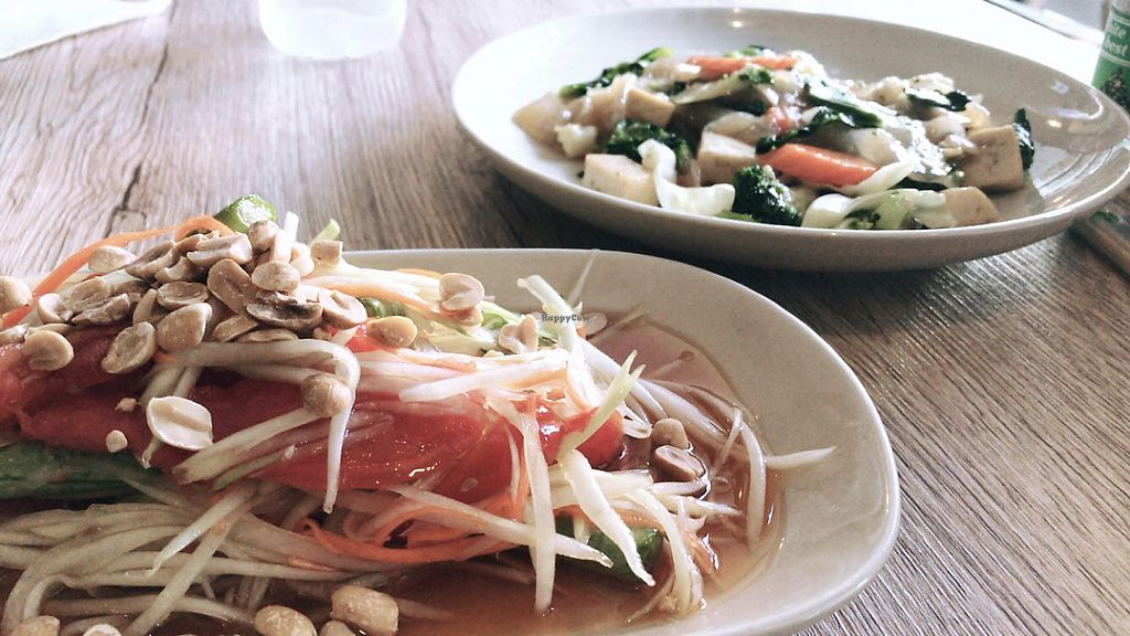 """Photo of Dow Vegetarian Restaurant  by <a href=""""/members/profile/TravelVeggie"""">TravelVeggie</a> <br/>Papaya Salad and Fried Noodles  <br/> December 8, 2017  - <a href='/contact/abuse/image/96395/333362'>Report</a>"""