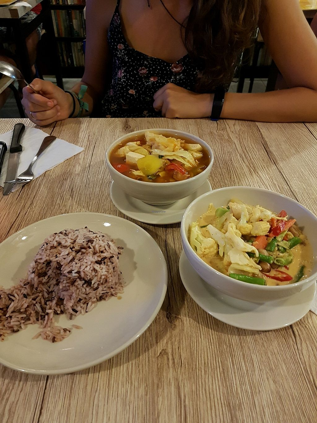 """Photo of Dow Vegetarian Restaurant  by <a href=""""/members/profile/vegatleticas"""">vegatleticas</a> <br/>Tom Yam and Massaman Curry <br/> March 3, 2018  - <a href='/contact/abuse/image/96395/366033'>Report</a>"""