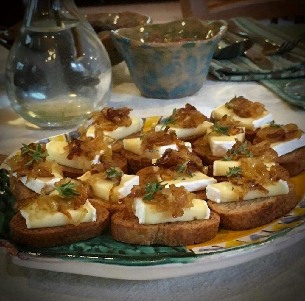 """Photo of Osteria Namaste  by <a href=""""/members/profile/Katherine2345"""">Katherine2345</a> <br/>integrale crostini with caramelised onion <br/> July 25, 2017  - <a href='/contact/abuse/image/96418/284672'>Report</a>"""